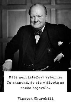 Máte nepriateľov? Výborne. To znamená, že ste v živote za niečo bojovali. - Winston Churchill #život Winston Churchill, My Life, Celebrity, Wellness, Quotes, Qoutes, Celebs, Quotations, Celebrities