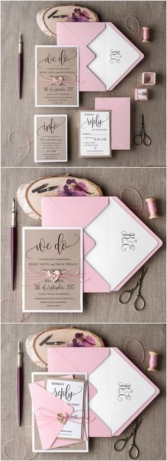Wedding Invitation Suite, Pink Invitation, Elegant Wedding Invitation, Blush Rustic Invitations / http://www.deerpearlflowers.com/rustic-wedding-invitations/