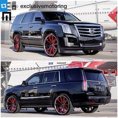 """#Repost @exclusivemotoring with @repostapp.・・・More photos of the Cadillac Escalade lowered on custom painted 26"""" Gianelle wheels. #ExclusiveMotoring #Miami #Escalade"""