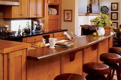 kitchen designs with  2 level islands photos | ... kitchen clutter from the living room beyond. This is a good design