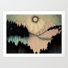MIDNIGHT SUN Art Print by Lena Hirsch. Worldwide shipping available at Society6.com. Just one of millions of high quality products available.