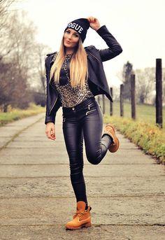 animal print leopard shirt, black leather jacket, black leggings or pants, beige sneakers boots