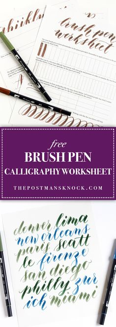 If you& like to learn how to use your brush pen to create calligraphy, look no further than this free printable brush pen calligraphy worksheet! Brush Lettering Worksheet, Calligraphy Worksheet, Brush Pen Calligraphy, Hand Lettering Practice, How To Write Calligraphy, Calligraphy Handwriting, Doodle Lettering, Creative Lettering, Calligraphy Letters