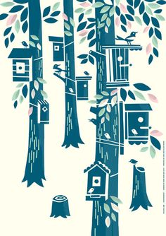 sweet color combos for stair design. Birdhouses on trees by Finnish design duo Polkka Jam