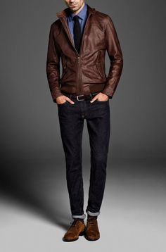 Shop this look for $266:  http://lookastic.com/men/looks/bomber-jacket-and-derby-shoes-and-jeans-and-belt-and-tie-and-longsleeve-shirt/406  — Brown Leather Bomber Jacket  — Brown Suede Derby Shoes  — Navy Jeans  — Brown Leather Belt  — Navy Tie  — Blue Longsleeve Shirt