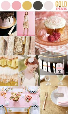 gold & pink - not my color palette, but I love a lot of these ideas