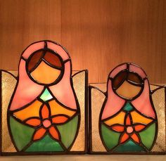 Stained glass nesting doll votives