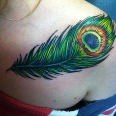 Peacock Feather tattoo coverup idea