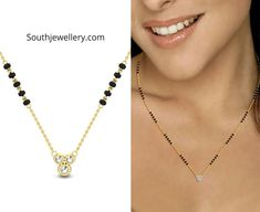 Check out these latest sleek and fancy mangalsutra designs with simple diamond pendants by Candere. These short and stylish nallapusalu necklace designs are suitable for daily wear as well as for office wear. Fancy Jewellery, Gold Jewellery Design, Bead Jewellery, Jewelry Design Earrings, Necklace Designs, Jewelry Ads, Pendant Jewelry, Jewelry Rings, Modern Mangalsutra Designs