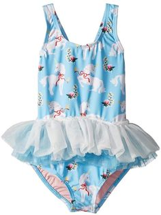 1f70d77a27d4 Rock Your Baby White Unicorns Tulle One-Piece (Toddler Little Kids Big  Kids) Girl s Jumpsuit   Rompers One Piece Blue