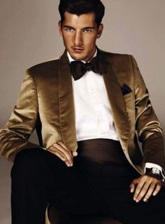 """Men New Year's Eve Outfit - White shirt w/ black bow tie and golden suit... Sort of reminds me of Bruno Mars style in his music video """"Treasure"""""""