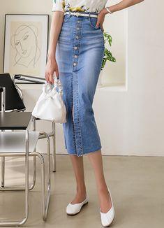 Styleonme_Denim Button Up Pencil Midi Skirt . . #styleonme_global #fashion #instagood #picoftheday #photooftheday #style #ootd #mixandmatch #shopping #instadaily #instafashion #selfie #fashionstagram #kstyle #kfashion #koreanlook #koreandaily #koreanfashion #kbeauty #followme #like4like #dailylook #styleonme #classy #koreanfashion #fashionkorea #ontrend #newarrivals #transitionalclothing #kdramafashion #ss21 #denimskirt #skirt #pencilskirt #buttonupskirt #midiskirt #summerskirt K Fashion, Korea Fashion, Korean Look, Denim Wrap Skirt, Korean Women, Denim Button Up, Like4like, That Look, Buttons