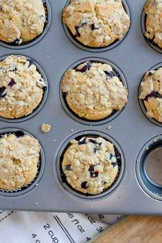 These Blueberry Cheesecake Muffins with Oatmeal Streusel Topping are so moist. Made with protein-packed cottage cheese and fresh blueberries making them a better-for-you breakfast muffin.