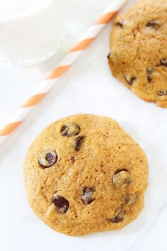 The BEST Pumpkin Chocolate Chip Cookie Recipe on twopeasandtheirpod.com We make these every fall and they are always a hit!