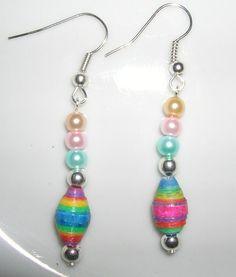 Set of Paper Beaded earrings    New Earrings, hand made