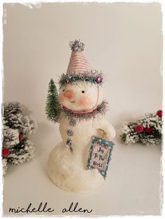 folk art paper clay Christmas Snowman doll n pink stripped hat JOY TO the WORLD handmade sculpt by Michelle Allen / Raggedy Pants Designs by RaggedyPantsDesigns on Etsy