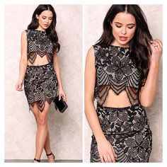 ❣COMING  Black Floral Lace Crop Top & Skirt Set NWT Black Floral Lace Crop Top & Skirt Set. Lace ahead in this gorgeous crop top & skirt set. Delicate floral lacy crop top with a built in nude slip and soft, stretch fit. Open back keyhole with button closure. Delicate floral lacy skirt with a built in nude slip skirt and soft. Size large. Shell: 100% Nylon. Lining: 100% Polyester. Hand wash cold. ❌TRADES ❌PAYPAL ✔️ POSH RULES  Skirts Skirt Sets