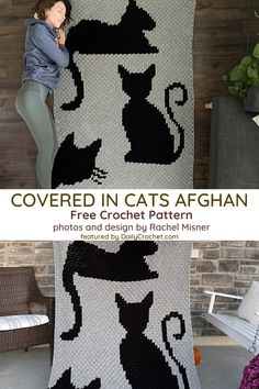 Cat Silhouette Crochet Pattern For All Cat Lovers - Knit And Crochet Daily Crochet Cat Pattern, Crochet Motifs, Crochet Blocks, Crochet Bear, Crochet Blanket Patterns, Crochet Birds, Crochet Food, Crochet Blankets, Crochet Stitches