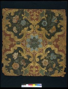Embossed leather panel, with a symmetrical 'Louis XIV'-design of scroll diaper pattern with flowers. Painted with a dark-brown, red, light-blue, and green-glaze ground, heightened with gold, and the flowers in various colours. ca 1850, Paris | Dulud, Jacques Michel | V Museum, London