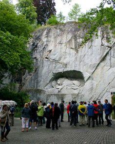 """LUCERNE, Switzerland: The Lion Monument in Luzern. Mark Twain famously said it was """"the most mournful and moving piece of stone in the world""""."""