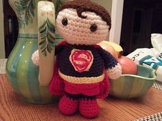 I created this Superman for my nephew - I made the pattern as I went along and decided to post it to Ravelry to share. I used stash yarns to create this super little fella.