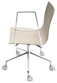 Thin Desk chair - Pivots Blanched oak by La Palma