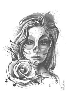 Skull Rose Tattoos, Skull Girl Tattoo, Girl Face Tattoo, Tattoo Design Drawings, Skull Tattoo Design, Tattoo Sleeve Designs, Day Of The Dead Tattoo Sleeve, Day Of The Dead Girl Tattoo, Tattoo Girls