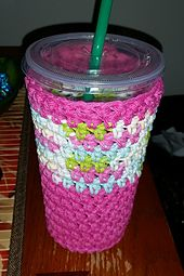 "Very easy cup cozy. Will keep your cold beverages from ""sweating"" all over your hands or desk."