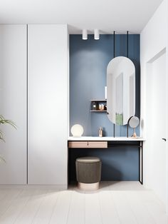 Home design with dressing table Comfortable and Suitable Wardrobe Design for Big & Small Bedroom Dressing Table Design, Dressing Area, Dressing Tables, Wardrobe With Dressing Table, Built In Dressing Table, Dressing Table Modern, Futuristisches Design, Interior Design, Lobby Interior
