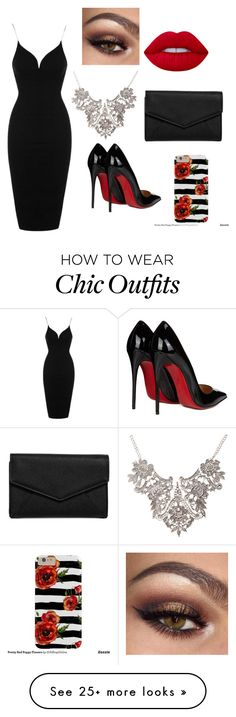 """""""Meu look"""" by olemar-salles on Polyvore featuring Topshop, Lime Crime, Christian Louboutin and LULUS"""