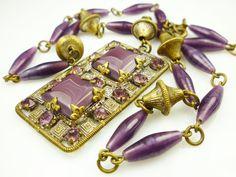 Art Deco Necklace Czech Glass Violet Purple by zephyrvintage