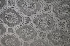 """""""My Old Country Home: Faux Tin Tile Ceiling Reveal!"""" Textured wallpaper from Lowes, painted with 2 step process, much cheaper than metal or plastic tiles."""