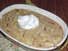 Baked Sour Cream Apple Pie Oatmeal 1/3 cup old fashioned rolled oats 1/3 cup unsweetened almond milk 1/3 cup apple of preference (cored, but not peeled); 3 heaping TBLS of 0% Greek yogurt 2 doonks (or 1/16 of a teaspoon) THM Pure Stevia 1 teaspoon golden ground flax seed, ¼ teaspoon apple pie spice, ¼ teaspoon of baking powder, ¼ teaspoon of vanilla, One egg white. Pinch of salt Mix dry ingredients, then add the wet ones. Whisk thoroughly and bake in prepared dish at 350 for 30-40 minutes.