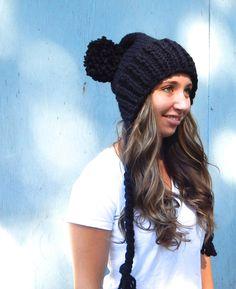 Black Knit Hat Black Knit Pom Pom Beanie with Ties Slouchy
