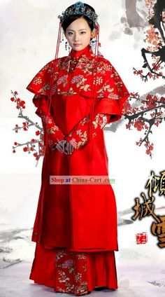 Chinese Red Embroidered Wedding Dress