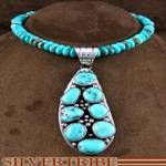 Native American Turquoise Jewelry Sterling Silver Pendant And Necklace Set RS46821