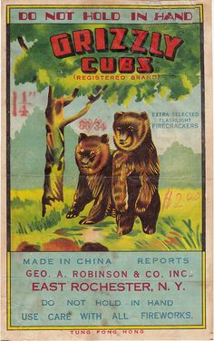Grizzly Cubs Firecracker Brick Label, via Flickr.
