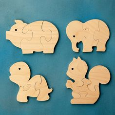 Childrens Wood Puzzles - Fun Animals - Set Of 4 Wooden Jigsaw Puzzle Toys - Fun…