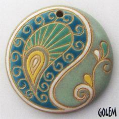 Handmade Ceramic Pendant--Paisley, large round, blue/green