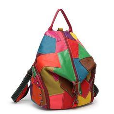 Patchwork Genuine Leather Bags Women Bag For Girls School Backpacks For Teenage Girls Colorful Cow Leather Backpack Leather Crossbody Bag, Leather Bags, Crossbody Bags, Leather Backpacks, Leather Handbags, College Bags, Designer Backpacks, School Backpacks, Scrappy Quilts