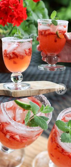 Strawberry Margarita - with Rhubarb recipe - the best margarita - strawberry marg - cocktail