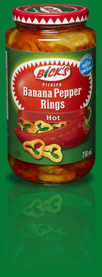 Bick's Pickled Banana Pepper Rings - love the font. http://www.bicks ...
