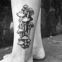 Mushrooms tattoo designs are a sign of great power and life. Many people go for a small mushroom tattoo on their arms or other part of the body, symbolizing longevity and personal growth. Ankle Tattoo, Arm Tattoos, Cute Tattoos, Unique Tattoos, Beautiful Tattoos, Body Art Tattoos, Sleeve Tattoos, Tatoos, Knuckle Tattoos