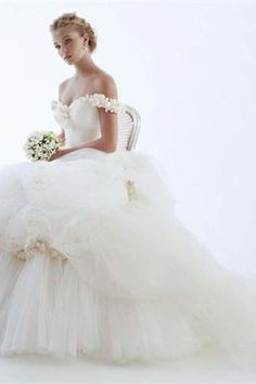 White Satin/Tulle Off-the-shoulder Ruffle/Hand-flower Ball Gown Chapel Train Wedding Dress -Wedding & Events-Wedding Dresses-Off-the-Shoulder Wedding Dresses