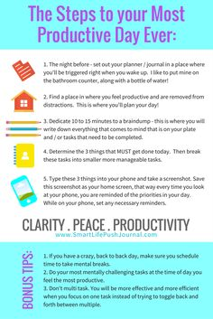The steps to your most productive day ever: http://www.chalenejohnson.com/healthy-living/decrease-distraction-and-get-more-done/#_l_1m