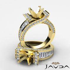 Round Baguette Diamond Engagement Ring 14k Yellow Gold Multi Shape Semi Mount 2C
