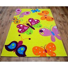 Detský žltý koberec s motýlikmi 120 x 140 cm - domtextilu. Carpet, Kids Rugs, Design, Home Decor, Jute, Farmhouse Rugs, Houses, Decoration Home, Kid Friendly Rugs