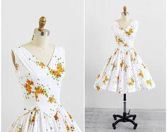 vintage 1950s dress / butterfly dress / 50s Butterflies Print Cotton Sundress on Etsy, Sold