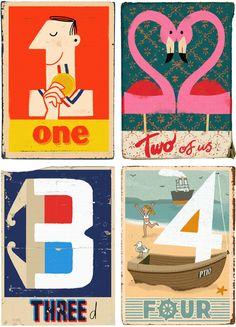 Ik hou van de stijl illustraties, retro, typografie en de lichte natuurlijke grunge