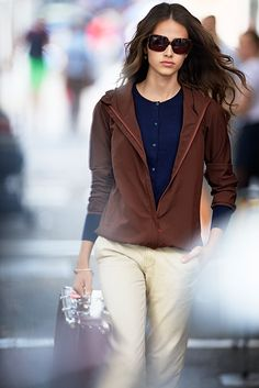 ines-fressange-uniqlo. Never know a hoodie could look this polished!